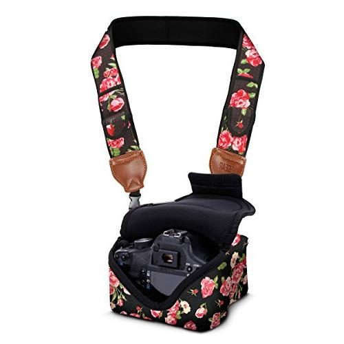 DSLR Camera Sleeve Case AND Camera Strap with Floral Neopren
