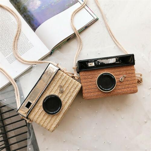 Woman Straw Weaving Camera Shape Crossbody Bag Cotton Should