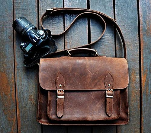 feathertouch leather camera dslr travel bag 12x9x5 inches br