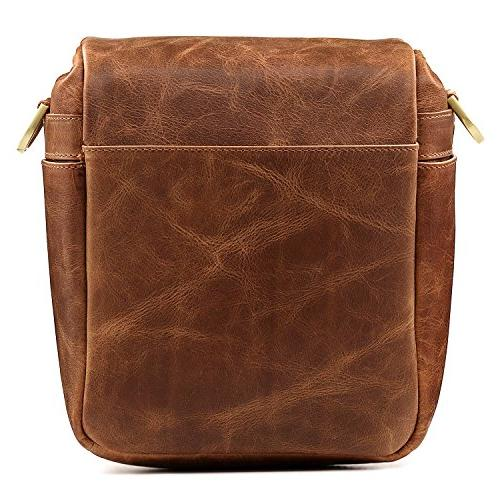 Megagear Genuine Leather Messenger for Instant Brown
