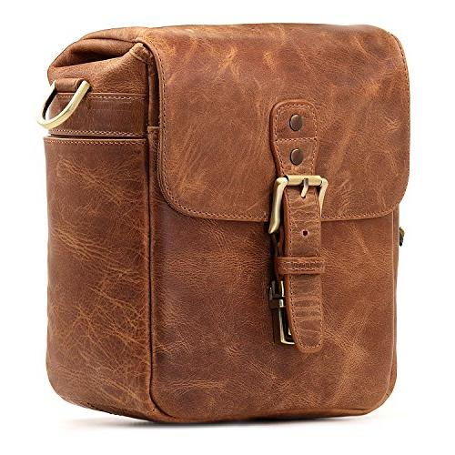 Megagear Leather Messenger Bag Instant DSLR,