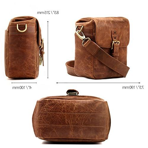 Megagear Leather Messenger Bag Mirrorless,