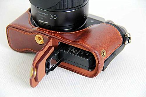 GX85 Case, Handmade PU Leather Half Camera Case Opening Version for LUMIX Strap