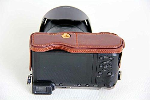 GX85 Case, PU Leather Half Camera Case Bag Cover Opening Version for LUMIX GX85 Hand Strap -Coffee