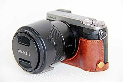 GX85 PU Leather Half Case Bottom Opening Version LUMIX GX85 With Strap