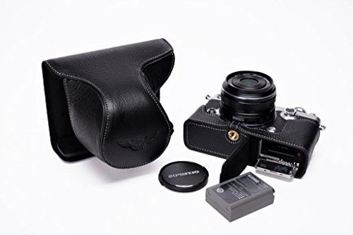 Handmade Genuine Real Leather Half Camera Case Bag Cover for Olympus PEN-F Black Color