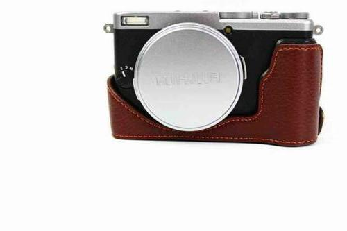 handmade genuine real leather half camera case