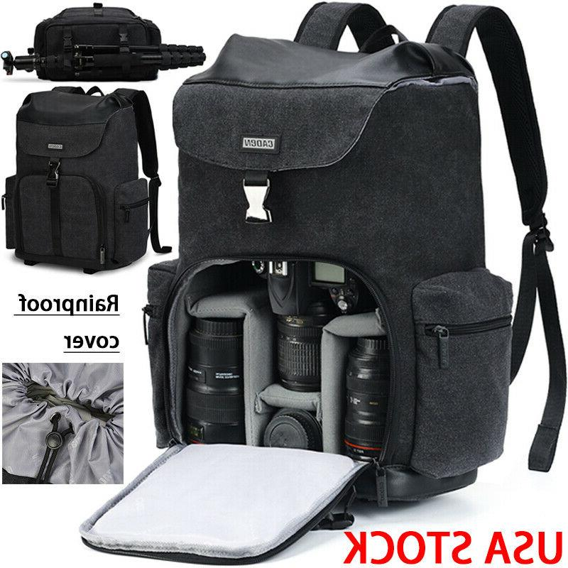 large black canvas camera bag backpack