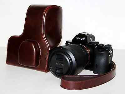 Leather Camera Case Bag Cover For Sony A7R A7 Coffee color