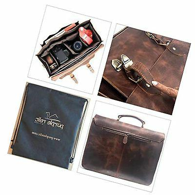 Leather DSLR Camera 15.6-Inch Laptop Briefcase