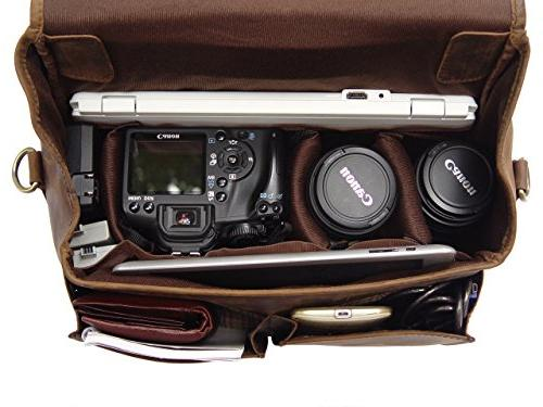 Leather Messenger Bag for DSLR/Mirrorless Camera Basic Gear - Rustic Look Sony, Nikon, Pentax Lenses Accessories