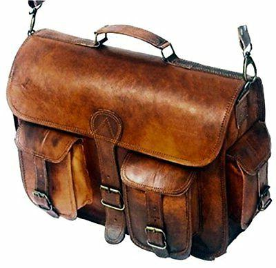 leather messenger handmade bag laptop satchel padded