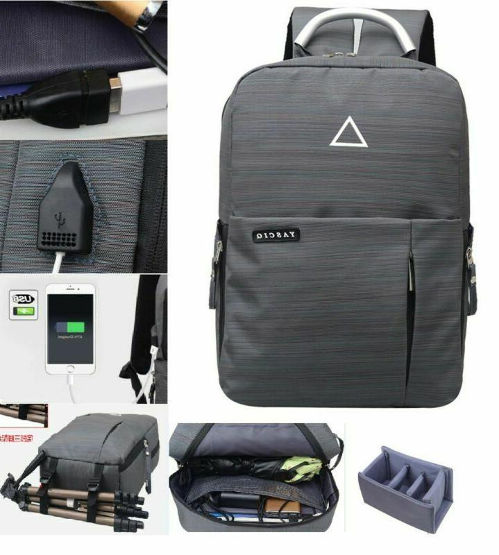 Multi-function DSLR Camera Nylon Bag USB Charge Pack Photogr