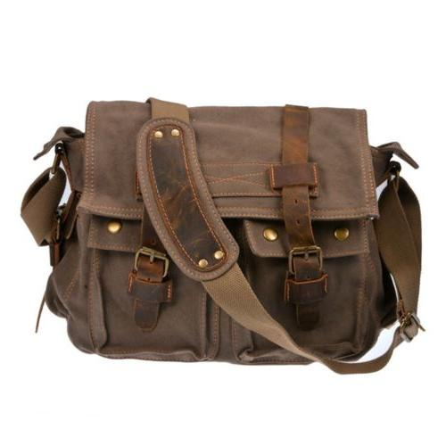 Mens Canvas Vintage Shoulder Messenger Camera Bag For Canon