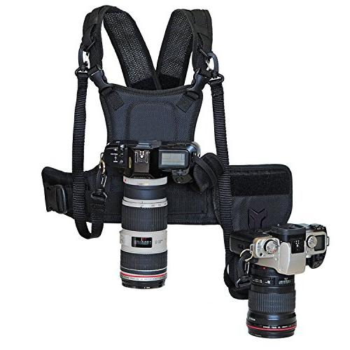 nicad multi camera carrying chest harness vest system side h
