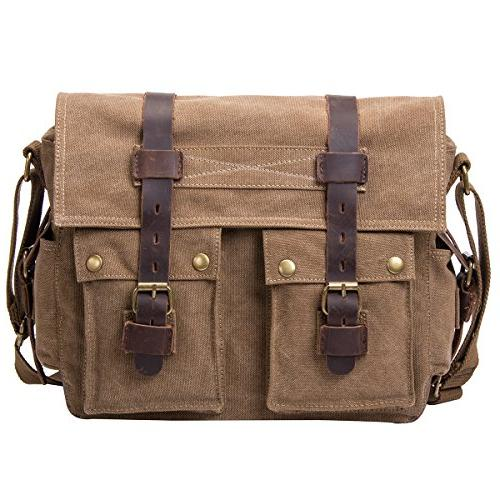 peacechaosleather canvas shoulder bookbag laptop
