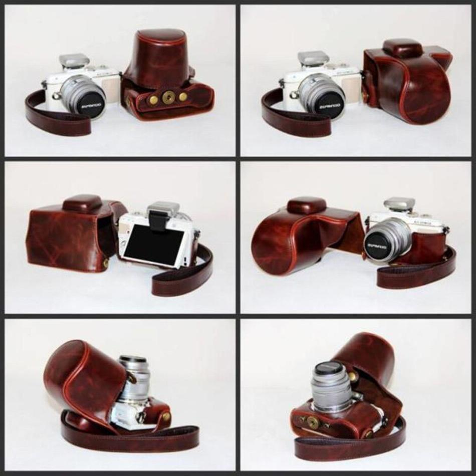 PU <font><b>Camera</b></font> Case Cover Pouch OLYMPUS Pen E-PL7 EPL7 EPL8 with 14-42mm Lens With Case