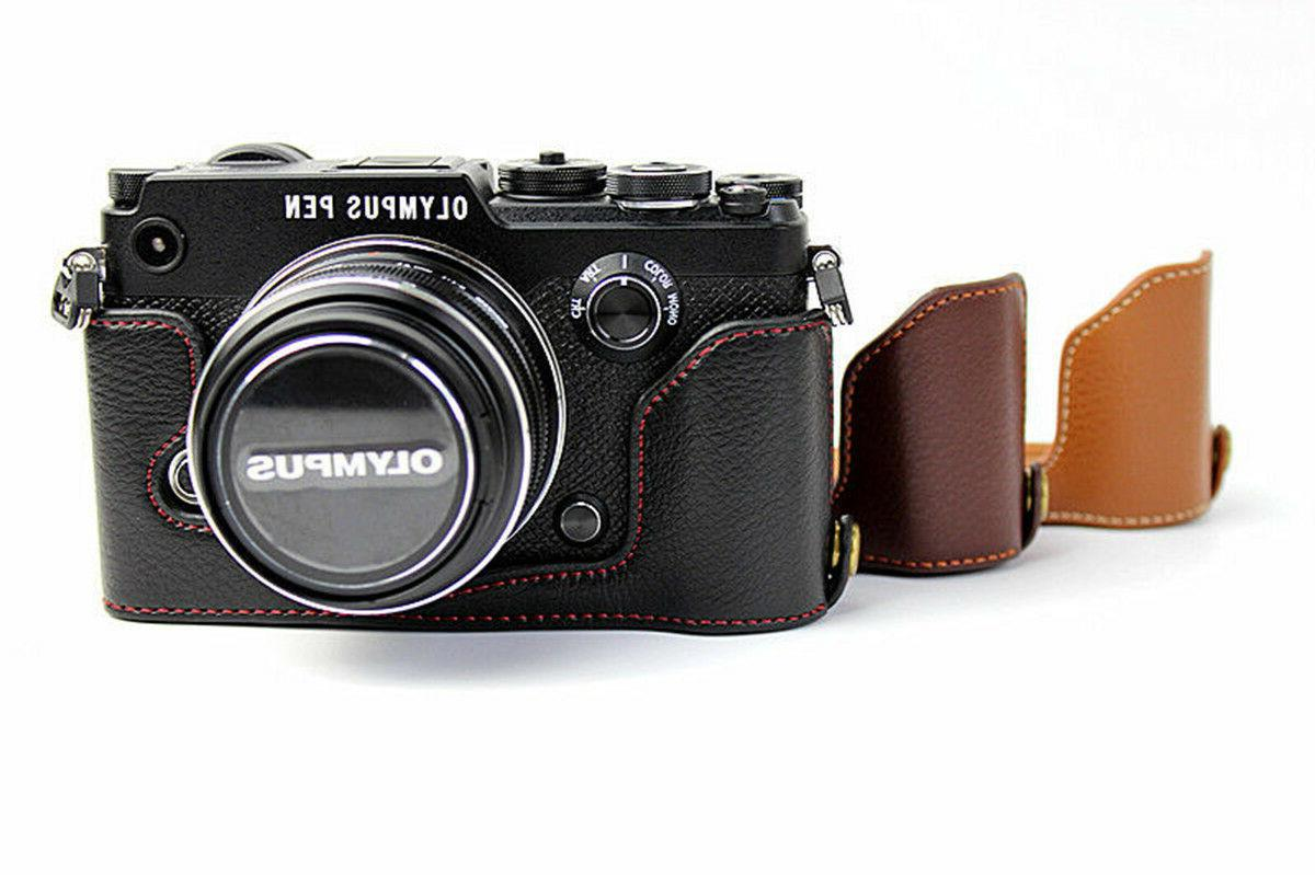 PU Leather Camera Case Half Bag Cover Battery Open For Olymp