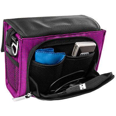 purple compact dslr shoulder camera bag