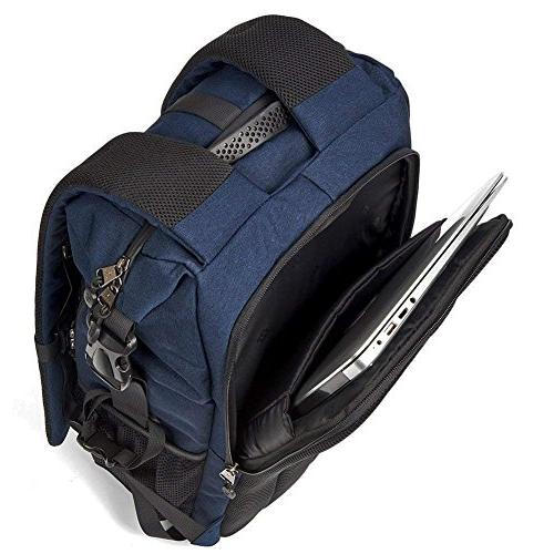 Evecase Shell Bag Laptop Camera Insert Tripod Holder Cover Nikon Sony Mirrorless Lens Flash and Photography – Blue
