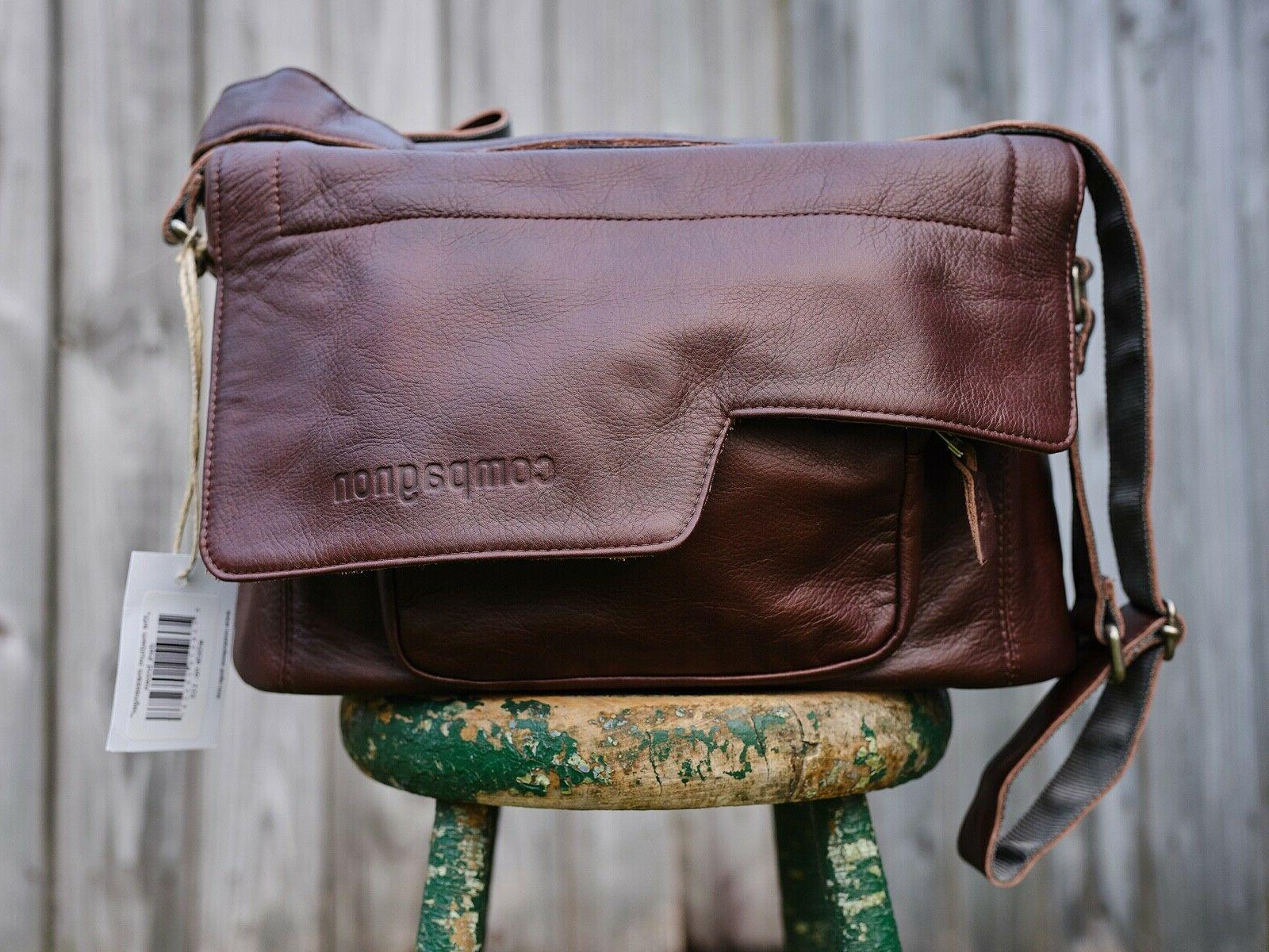 the medium messenger leather camera bag dark