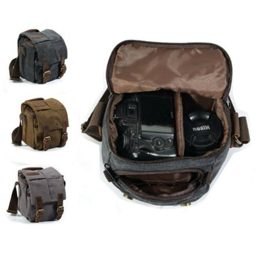 Vintage Canvas Camera Bag Shoulder Messenger for Canon Sony