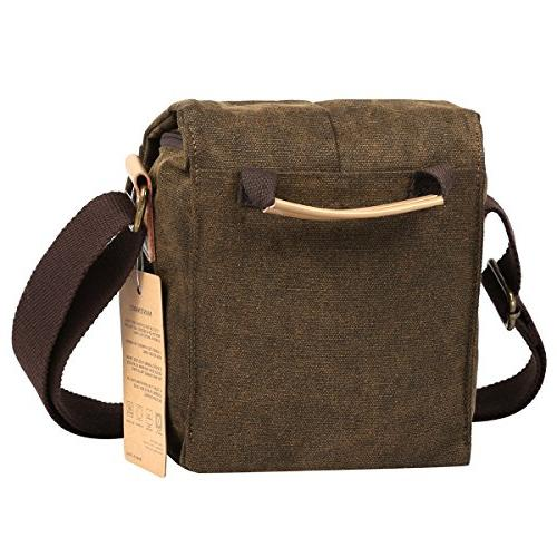 S-ZONE Small Waterproof Canvas Trim SLR Camera Messenger Bag