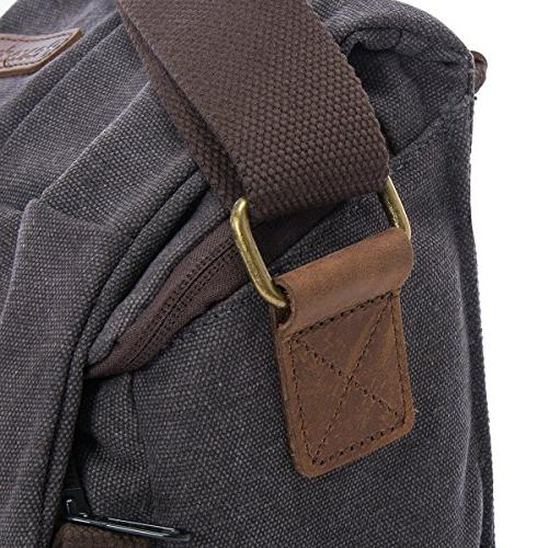 Waterproof Canvas Leather Trim DSLR SLR Shoulder Messenger