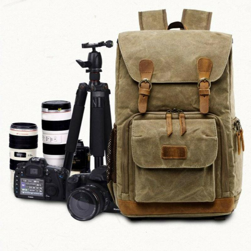 Vintage Camera Photography Backpack Waterproof Canvas Large