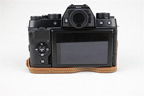 PU Leather Case Bag for Fujifilm X-T100 15-45mm Lens Bottom Opening Version + Bag -Brown