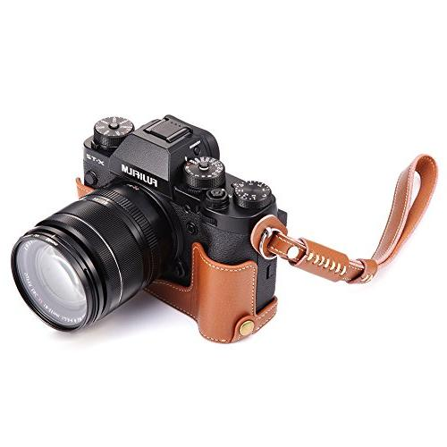 X-T3 Case, BolinUS Genuine Camera Bag for X-T2 XT2 X-T3 Opening Version Strap -Brown