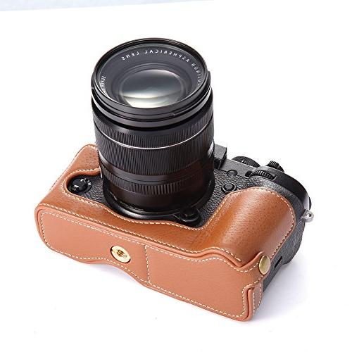 X-T3 BolinUS Handmade Genuine Real Leather Camera Bag for XT2 Opening + Strap -Brown