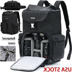 Large Black Canvas Camera Bag Backpack For Canon Nikon Sony