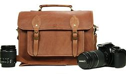 Leather Camera Bag for DSLR Mirrorless Instant Cameras Shoul