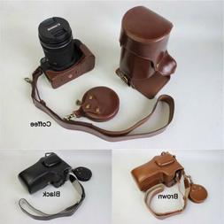 Leather Camera bag Lens Cap case strap Grip For Canon Rebel