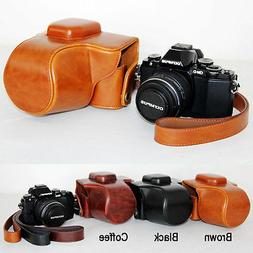 Leather Camera case bag Cover For Olympus OM-D E-M10 Mark II