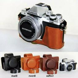 Leather Camera case bag Grip for Olympus E-M10 Mark I/II/III
