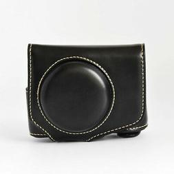 Leather Camera Case Bag W/ Strap for Canon Powershot G7 X Ma