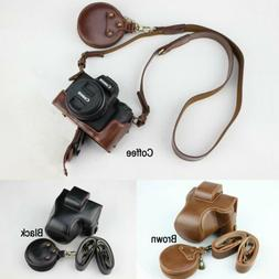 Leather Camera Hard case Bag Grip strap for Canon Eos M50 M5