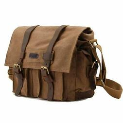 Leather Canvas Camera Bag Vintage DSLR SLR Messenger Shoulde