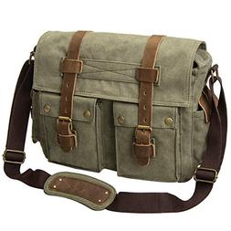 leather canvas shoulder bookbag laptop