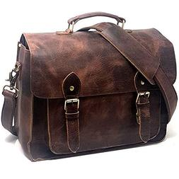 Leather DSLR Camera Bag 15.6-Inch Laptop Briefcase