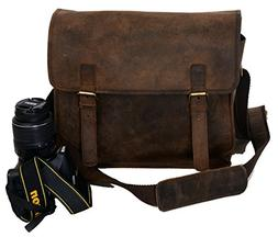 KOMALC Vintage Leather Camera Bag ~ SLR DSLR Messenger Bag ~