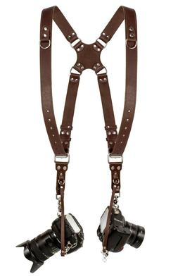 Coiro Leather Dual Camera Strap Harness Quick Release Brown