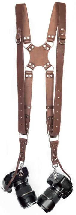 Leather Dual Camera Strap Harness Quick Release Brown Should