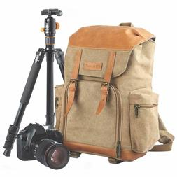 M-02 Canvas Camera Backpack Water-Repellent Camera Bag for D