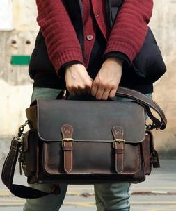 Men's Genuine Leather DSLR Camera Sleeve Bag Messenger Bag C