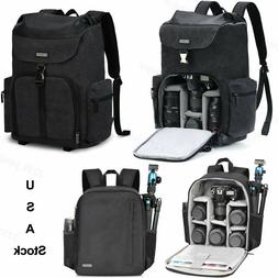New Black Canvas Camera Bag Backpack For Canon Nikon Sony Le