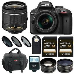 Nikon D3400 DSLR Camera with 18-55 Lens and 64GB Kit + Flash
