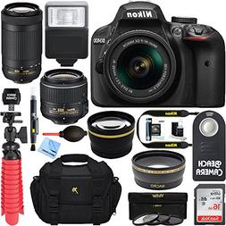 Nikon D3400 24.2MP DSLR Camera w/ AF-P 18-55 VR & 70-300mm D